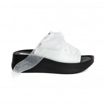 Sandal - White Napa with White Ribbon