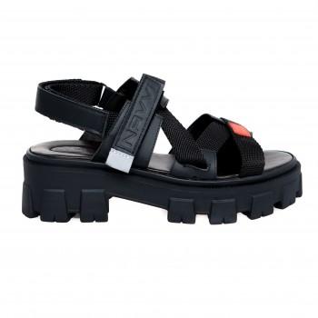 Sandal - Black Napa, Red Accent