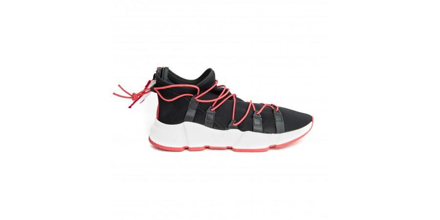 Sneaker - Black Neoprene - Red Eraser