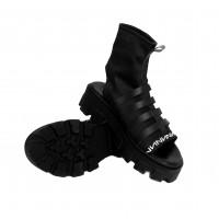 Sandal - Black Napa, Lycra
